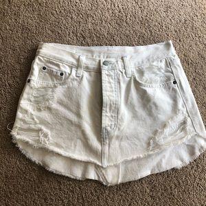 LF white denim mini skirt